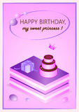 Pink birthday card for your princess Royalty Free Stock Photo