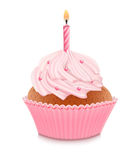 Pink birthday cupcake. With burning candle Stock Images