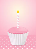 Pink birthday cupcake background Stock Photography