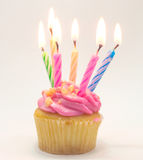 Pink Birthday cupcake with candle lighting Stock Image