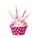 Pink birthday cupcake Royalty Free Stock Image