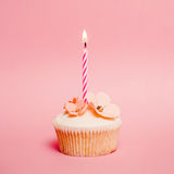 Pink birthday cupcake. With one candle Royalty Free Stock Images