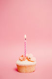 Pink birthday cupcake. With one candle Stock Image