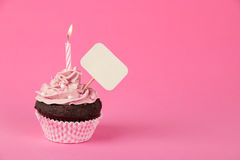 Pink birthday cupcake with placard. Pink birthday cupcake with a candle and blank placard Stock Images