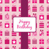 Pink birthday gifts wrapping Royalty Free Stock Images
