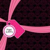 Pink birthday ribbon Stock Photos