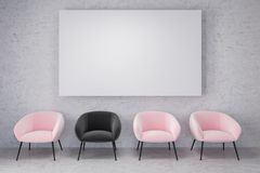 Pink, black armchairs, empty concrete room, poster. Waiting room of a company with concrete walls and floor, and a row of pink chairs. One black chair. A mock up Royalty Free Illustration