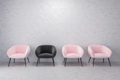 Pink and black armchairs, empty concrete room Royalty Free Stock Photo