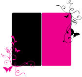 Pink and black banner. Illustration of duo colour banner with swirls and butterflies Royalty Free Stock Photo