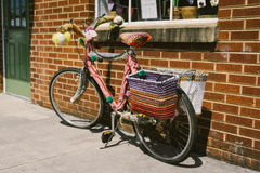 Pink and Black Commuter Bike Royalty Free Stock Photo