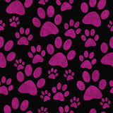 Pink and Black Dog Paw Prints Tile Pattern Repeat Background Royalty Free Stock Images