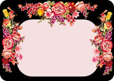 Pink on black frame with rose flowers Royalty Free Stock Image