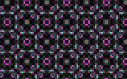 Pink in black geometric repeating pattern. Pixel art creative pattern of pink and green squares over black background. cool vector endless texture for textile Royalty Free Stock Photo
