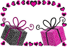 Gifts Tags Valentines Greeting Card. Pink and black gifts. Boxes with polka dots. Valentines day card or gift tag Royalty Free Stock Photography
