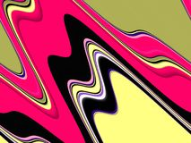 Pink black green fluid shapes, geometries background on black background royalty free illustration