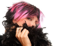 Pink And Black Haired Girl with Boa Portrait Royalty Free Stock Photos