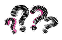 Pink and black hand drawn question marks Stock Image