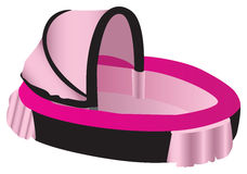 Pink and black illustration of a baby crib Stock Photos