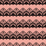 Pink and black lace seamless stripes pattern. Stock Photo