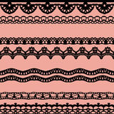Pink and black lace seamless stripes pattern. Royalty Free Stock Images