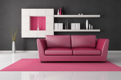 Pink and black living room Stock Photo
