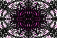 Pink and black mirrored pattern. Digital painting of a pink and black mirrored pattern drawn in circles vector illustration