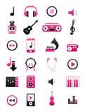 Pink-black music icons set Royalty Free Stock Image
