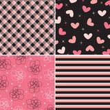 Pink and black pattern combo Stock Photography