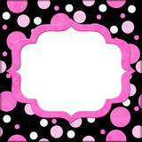 Pink and Black Polka Dot background for your message or invitation royalty free illustration