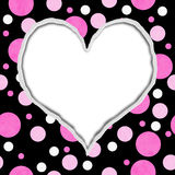 Pink and Black Polka Dot Heart Background Stock Image