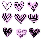 Pink and black romantic heart collection Royalty Free Stock Photo