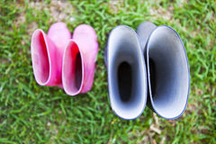 Pink and black wellingtons Royalty Free Stock Photo