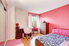 Pink with black and white teenager's girls room. Royalty Free Stock Photo