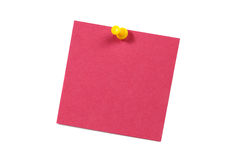 Pink blank card with push pin isolated on white Stock Images
