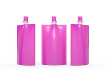Pink blank juice  bag packaging with spout lid, clipping path in Stock Images