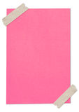 Pink blank paper stuck with brown tape. Isolated Stock Images