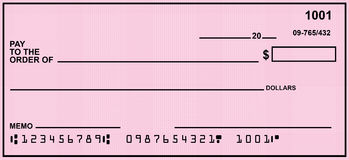 Pink Blank Personal Check. Blank personal check with a variety of backgrounds.  Easy to drop in your own text Royalty Free Stock Photo