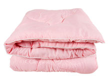 Pink Blanket. Folded pink blanket, isolated on white Stock Photos