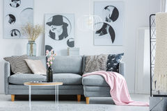 Pink blanket on grey sofa. Pink blanket and patterned pillows on grey sofa and black vase on coffee table in living room Royalty Free Stock Photos