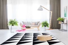 Pink blanket lying on couch. Pink blanket lying on a cozy couch in a fern filled day room interior stock photos