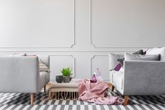 Pink blanket and plant on table between grey sofas in living room interior with carpet. Real photo. Concept royalty free stock photo