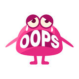 Pink Blob Saying Oops, Cute Emoji Character With Word In The Mouth Instead Of Teeth, Emoticon Message Stock Image