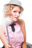 Pink blond fairy woman with magic wand Royalty Free Stock Images
