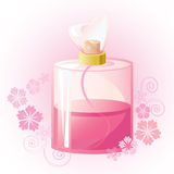 Pink blossom perfume in transparent glass bottle Royalty Free Stock Images
