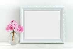 Pink Blossom styled stock photography. With white frame for your own business message, promotion, headline, or design, great for blogging and social media Royalty Free Stock Photo