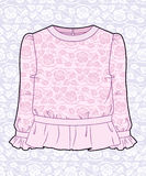 Pink blouse with Roses. Colored tech sketch of a blouse for further product development royalty free illustration