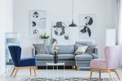 Pink and blue armchair. S in cozy living room with grey sofa and black vase on small coffee table Stock Image