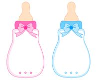 Pink and Blue Baby Bottles. Baby bottles with bows in pink for girl and blue for boy stock illustration