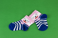 Pink  -blue baby's socks Royalty Free Stock Photography