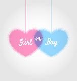 Pink and blue baby shower in form hearts Royalty Free Stock Photography